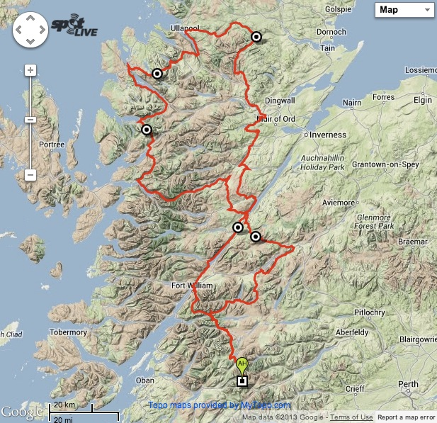 Highland Trail Race Route Map
