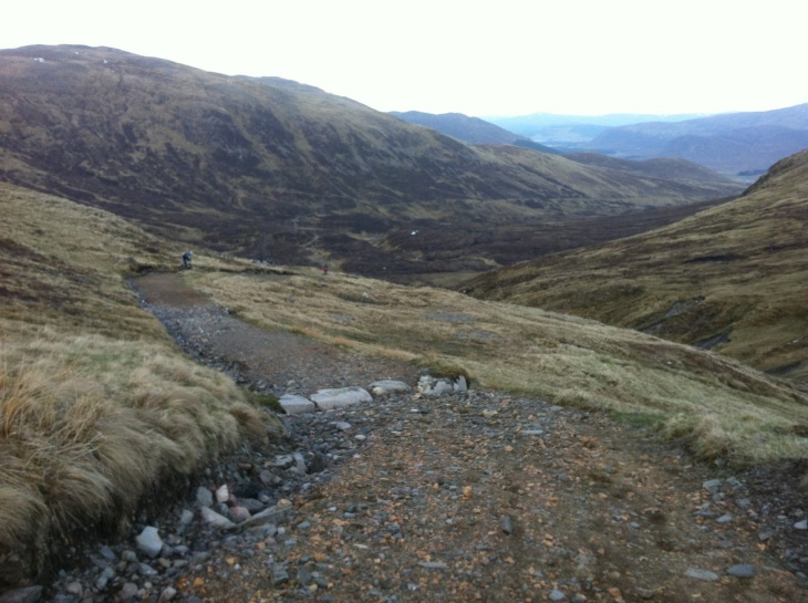 Looking back down the Corrieyairach Pass